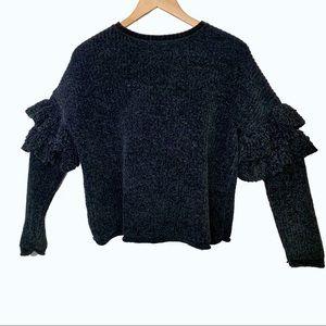 Black Chenille Small Double Ruffle Sweater